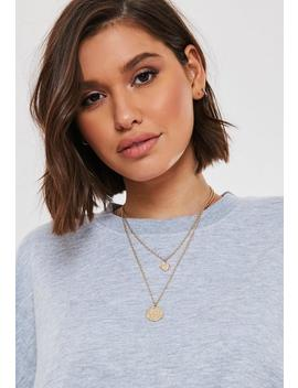 Gold Look Layered Compass Coin Necklace by Missguided