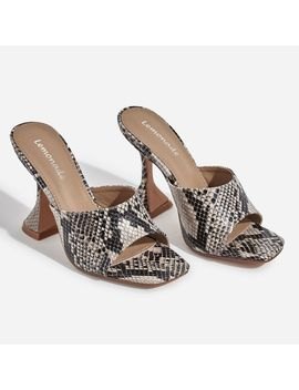 Jordi Peep Square Toe Heel Mule In Nude Snake Print Faux Leather by Ego