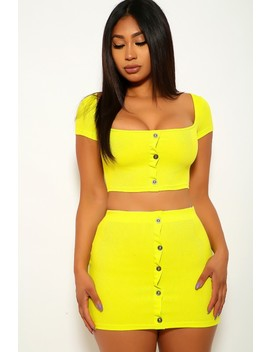 Lime Short Sleeve Two Piece Dress by Ami Clubwear