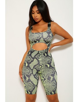 Lime Black Snake Print Sleeveless Romper by Ami Clubwear