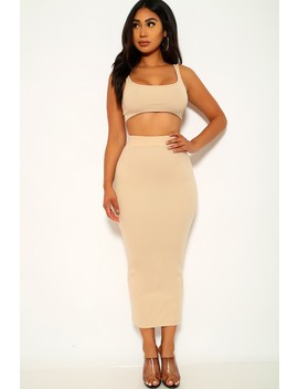 Beige Ribbed Sleeveless Two Piece Dress by Ami Clubwear