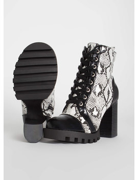 Little Punk Chunky Snake Print Booties by Go Jane