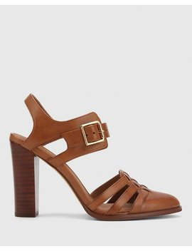 Winslow Cognac Leather Multi Strap Buckled Block Heel by Wittner