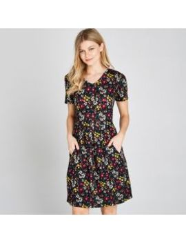 Black Ditsy Floral Print Dress by Apricot