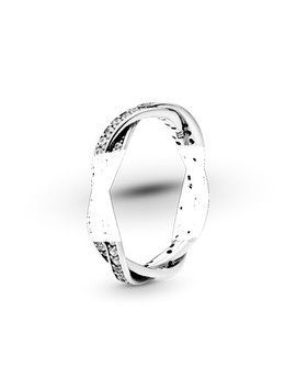 Braided Pave Silver Ring With Cubic Zirconia by Pandora
