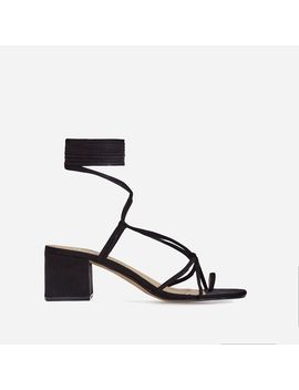 Circe Midi Block Heel Lace Up Heel In Black Faux Suede by Ego
