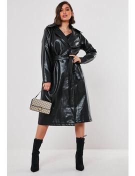 Black Faux Leather Oversized Trench Coat by Missguided