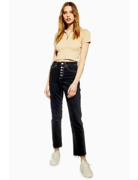 Gerade, Schwarze Jeans Mit Knopfleiste by Topshop