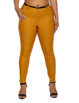 Plus Size Belted Stretch Dress Pants by Rainbow