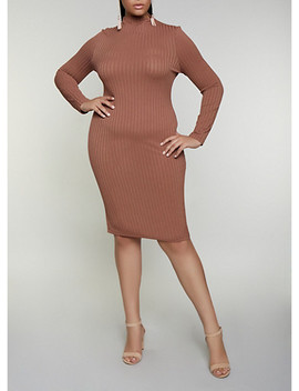 Plus Size Rib Knit Midi Bodycon Dress by Rainbow