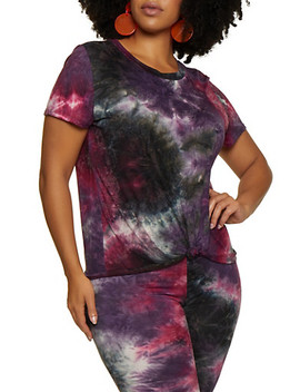Plus Size Tie Dye Soft Knit Tee | 3927061358632 by Rainbow