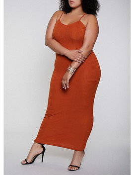 Plus Size Rib Knit Cami Maxi Dress by Rainbow