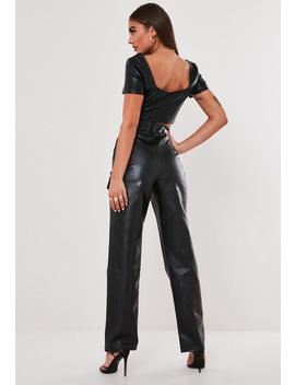 Pantalon Noir Taille Haute Simili Cuir Jordan Lipscombe X Missguided by Missguided
