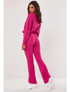Pantalon Large En Tricot Rouge Framboise by Missguided