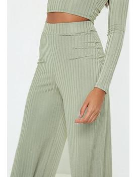 Pantalon Large Vert Clair Rainuré by Missguided