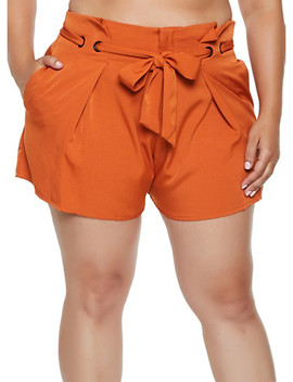Plus Size Belted Crepe Knit Shorts by Rainbow