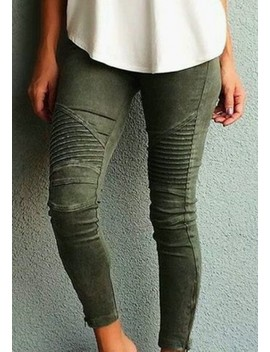 Army Green Plain Pockets Buttons Mid Rise Casual Long Jeans by Cichic