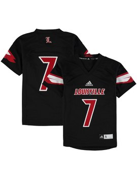Adidas #7 Louisville Cardinals Youth Black Replica Football Jersey by Fans Edge