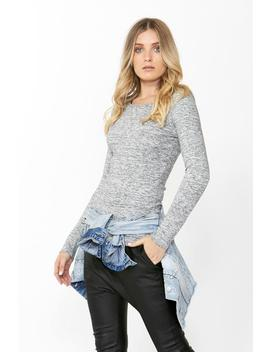 Fitted Crew Long Sleeve Top by Decjuba