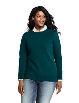 Women's Plus Size Serious Sweats Crewneck Long Sleeve Sweatshirt Tunic by Lands' End