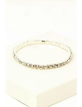 Simple Silver Rhinestone Bracelet by Ami Clubwear