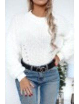 White Faux Fur Sleeve Knitted Jumper by Lasula