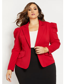 Tall Puff Shoulder Blazer by Ashley Stewart