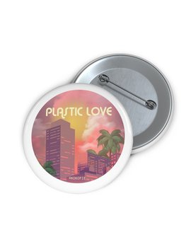 80s Japanese City Pop Aesthetic   Plastic Love Pin Button by Kokopiecoco
