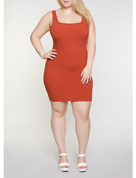 Plus Size Ribbed Tank Dress by Rainbow