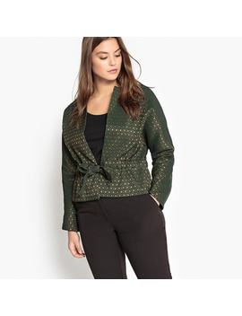 Jacquard Cropped Jacket With Bow by Castaluna Plus Size
