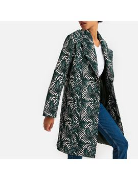 Straight Single Breasted Coat In Tropical Jacquard Print by La Redoute Collections