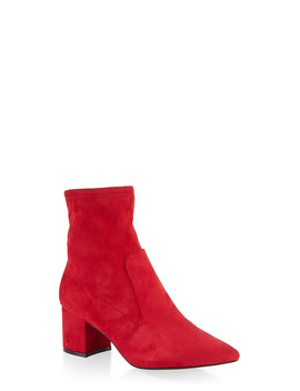 Pointed Toe Mid Block Heel Booties by Rainbow