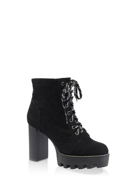 Lace Up Platform High Heel Booties by Rainbow