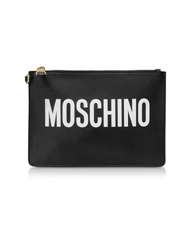 Black Leather Signature Flat Clutch by Moschino