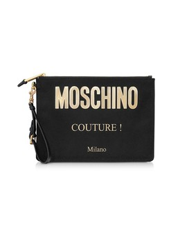 Black And Gold Nylon Signature Clutch by Moschino