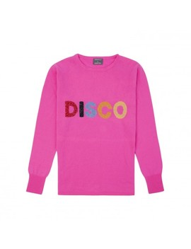 Disco Cashmere Blend Sweater In Neon Pink by Orwell & Austen