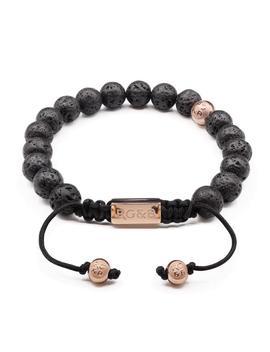 Lava Stone Bead Bracelet   Premium by Rose Gold & Black