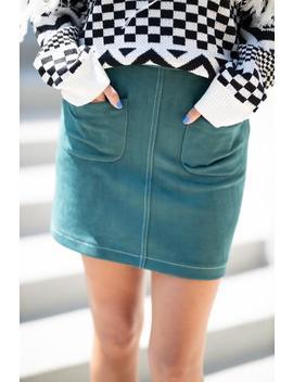Off Duty Suede Skirt  Teal by Hazel & Olive