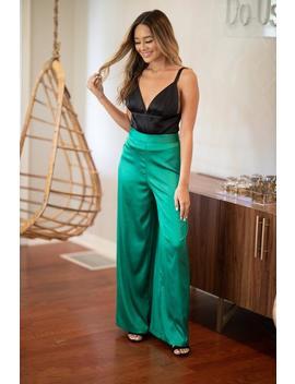Emerald Cay Satin Pants  Kelly Green by Hazel & Olive