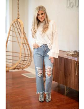 What A Doll Distressed Mom Jeans  Light Wash by Hazel & Olive