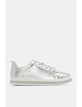 Shiny Sneakers With Faux Gem Trim by Ardene