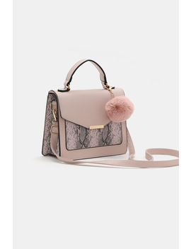 Snakeskin Faux Leather Clutch With Pompom by Ardene