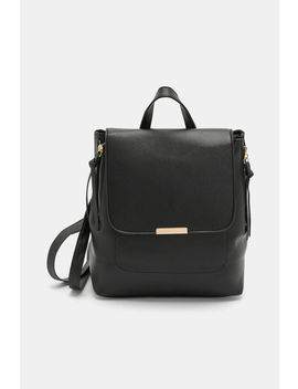 Faux Leather Backpack With Zip Details by Ardene