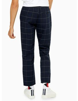 Navy And Yellow Check Trousers With Chain by Topman