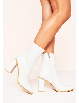 Elisa White Patent Chunky Boots by Missy Empire