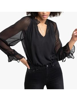 Sheer High Neck Blouse With Ruffles by La Redoute Collections