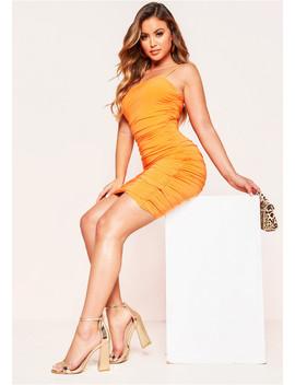 Una Orange Ruched Slinky Mini Dress by Missy Empire