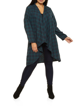 Plus Size Flyaway Plaid Duster by Rainbow