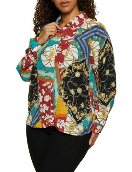 Plus Size Printed Long Sleeve Shirt by Rainbow