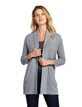 Women's 3/4 Sleeve Textured Cardigan Sweater by Lands' End